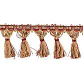 Natural & Red Tassel Fringe Trim